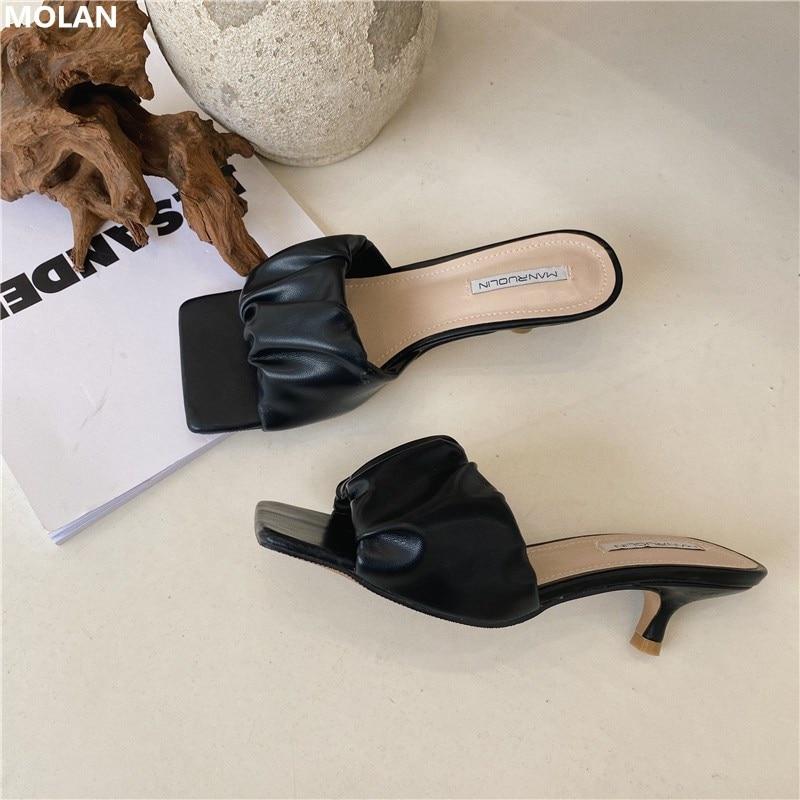 MOLAN Brand Designers 2020 Summer Luxury Pleated Good Leather Sqaure Toe Sexy Kitten Heels Lady Pumps Mules Flip Flops Outside