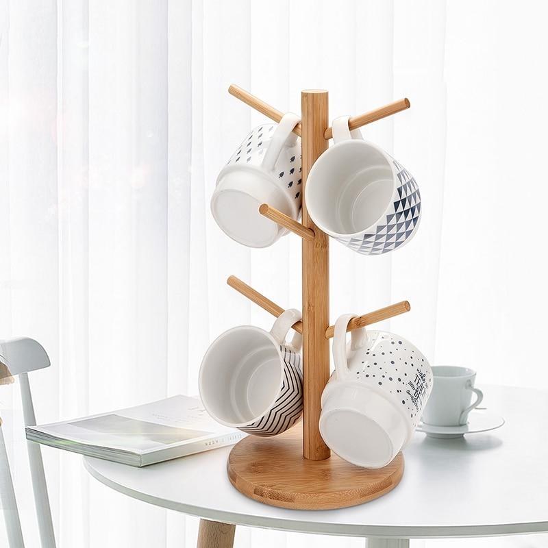 Mug Holder Tree Mug Glass Storage Rack Bamboo Cup Holder Drain Cup Holder Jewelry Rack For Home