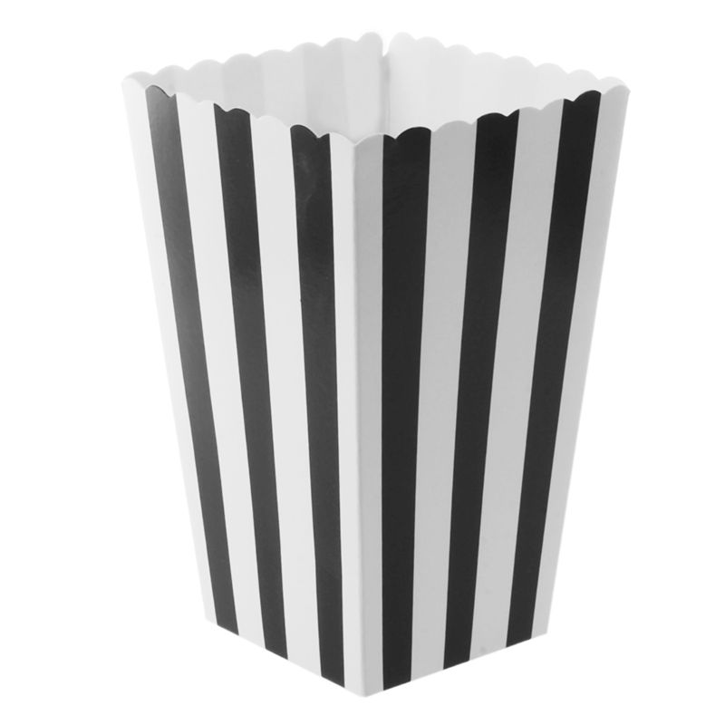 12pcs Popcorn Boxes Bags Kids Party Treat Boxes Wedding Birthday Decorations Vertical Striped Black