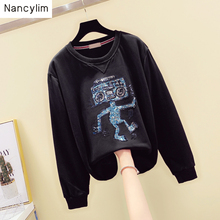 Heavy Industries Washing Hand-made Bead Sequins Cartoon Hoodie Women Early Autumn Long-sleeved Topcoat Students Sweatshirt