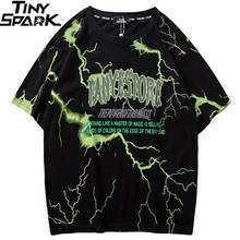 2019 T-shirt Heren Hip Hop Dark Lightning Tshirt Streetwear Zomer Katoen Harajuku T-shirts Korte Mouw Tops Tees Street Wear(China)