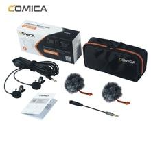 Comica CVM D02 microfone 2.5m 4.5m 6.0 lavalier condensador microfone microfone para câmera dslr telefone gopro studio microfone