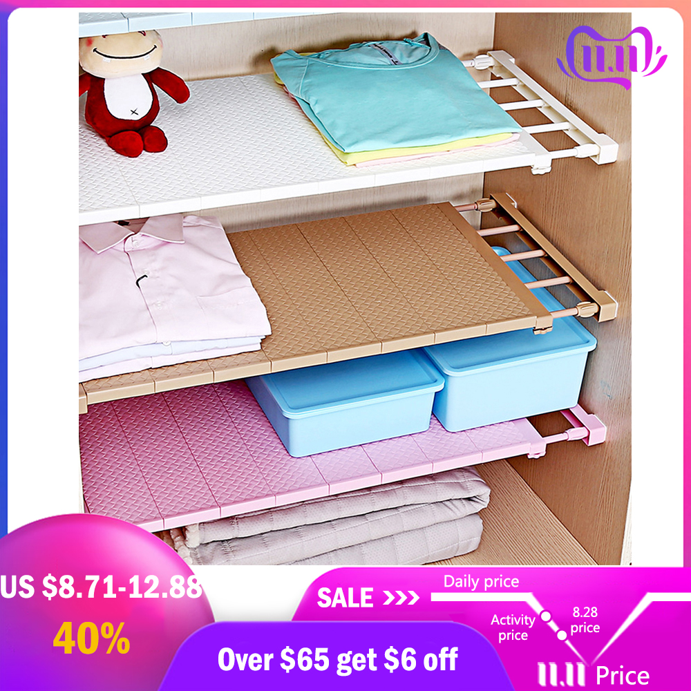 Permalink to 1PC Adjustable Closet Organizer Storage Shelf Wall Mounted Kitchen Rack Space Saving Wardrobe Decorative Shelves Cabinet Holders
