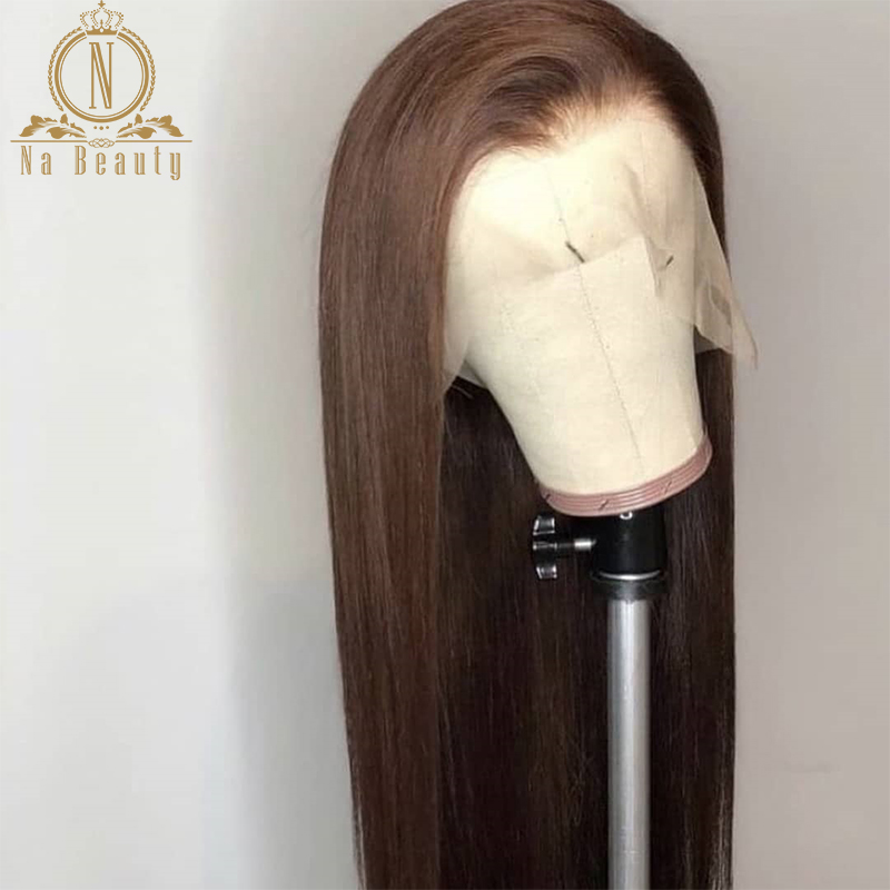 Fake Scalp Invisible Knot 13x6 Lace Front Brown Wig Bleached Knots Pre Plucked Straight Human Hair Front Lace Long Wigs Remy 150(China)