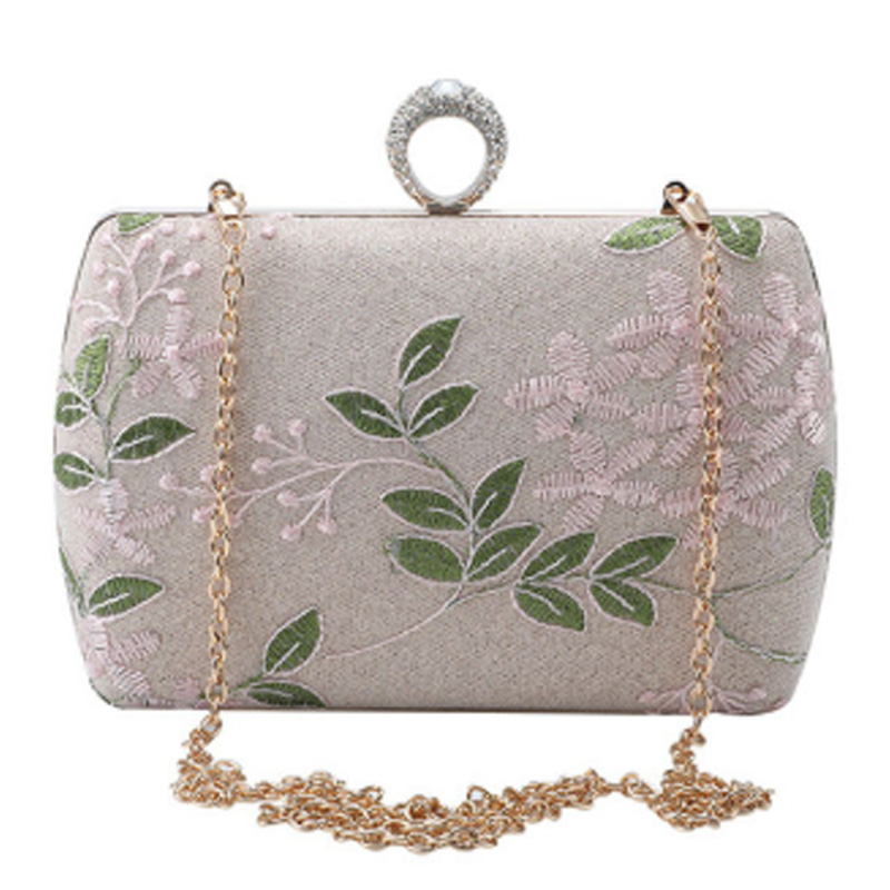 Wallet Clutch-Bag Embroidery Lace-Flower Evening-Dress Party Female Women's Leaf Promotion--New