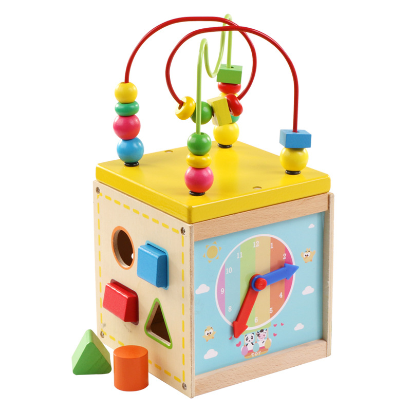 [Cloud Commercial Union] Wooden Children Baby Educational Toy Multi-functional Bead-stringing Toy Treasure Chest Baby Clock Reco