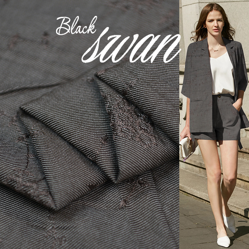 Su Fuer spring and autumn 100% silk spun retro style denim small suit shorts skirt clothing fabric 38 Momi 49-1