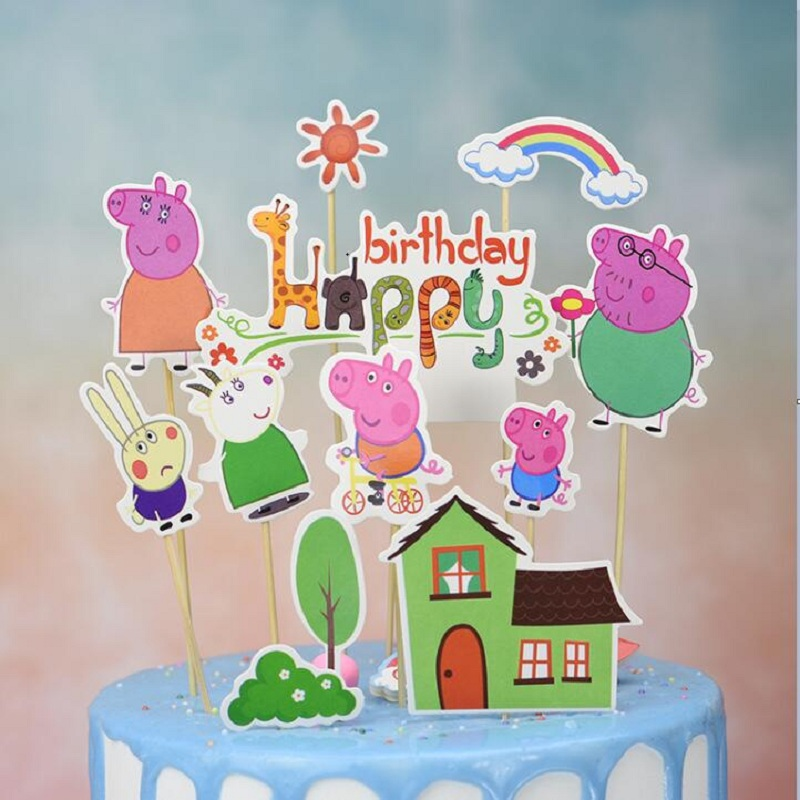 10pcs/set Peppa Pig George family friend Birthday Decoration toy Cake Card Fruit Plug-in Children Birthday Party Supplies Toys image
