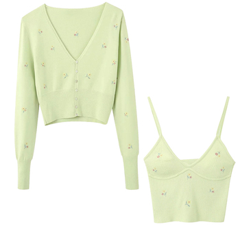 2020 Sunmmer New Women's Embroidery Green Cropped Knit Cardigan Casual Two Pieces Set Fashion Streetwear Sexy Female Crop Tops