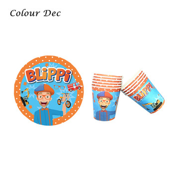 20pcs/set Bilppi Paper Cups Plates Happy Birthday Decoration Baby Shower Festival For Kids Toys Tableware Party Supplies image