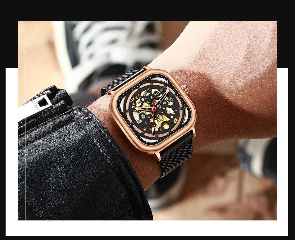 HAIQIN Mecânica dos homensMens Relógios top marca