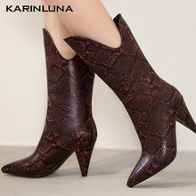 Karinluna Fashion New Hot Sale 2020 Spike Heels Mid Calf Boots Woman Shoes Pointed Toe Slip On INS Shoes Women Boots Female(China)