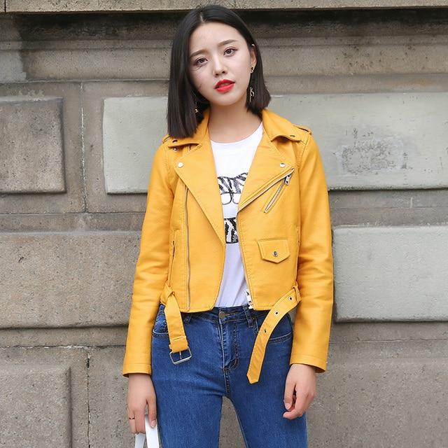 Ftlzz Pu Leather Jacket Women Fashion Bright Colors Black Motorcycle Coat Short Faux Leather Biker Jacket Soft Jacket Female 4