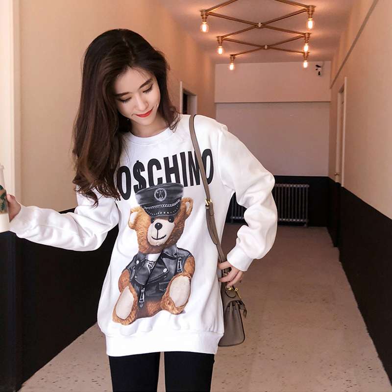 Autumn Winter Women Sweatshirts Pullover Fashion Harajuku O Neck Cartoon Pullover Thick Loose Sweatshirts Female Casual 2019