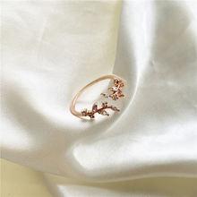 Женское кольцо с цветком из Южной Кореи циркония милое Универсальное