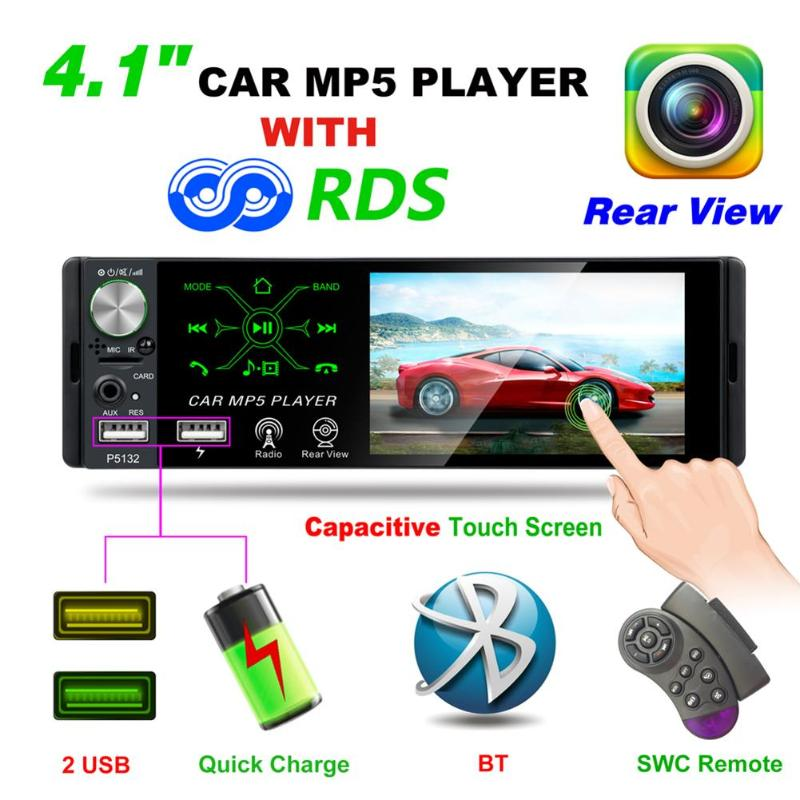 P5132 4.1 inch 1 Din Capacitive Touch Screen Car In-Dash Stereo Audio Bluetooth AM FM RDS Radio Head Unit MP5 Multimedia Player image
