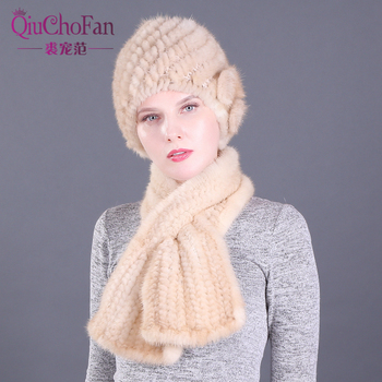 Three Flower Women Winter Knitted Genuine Mink Fur Cap Hats & Knitted Straight Scarves Outdoor Knitted Natural Fur Beanie Scarf fashion 2 use cap knitted scarf