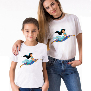 Mother and Daughter Clothes Family Look Outfits Loose T-shirts Princess Jasmine Tshirt Retro Kids Clothes Spring Summer T shirt summer family look clothes boy t shirts mother