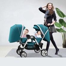 Парные Детские коляски, Можно присесть и сложить ребенка лицом к лицу на колесиках, двойная коляска с ударной складной коляской