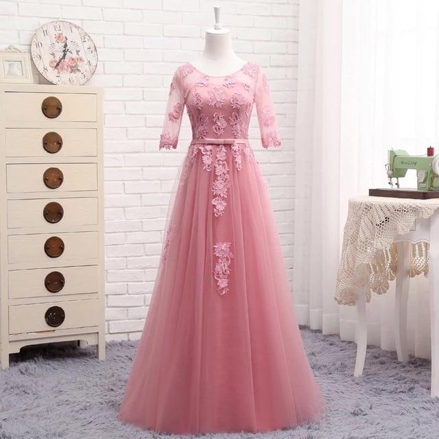 Half Sleeve Floor Length Tulle Lace Bridesmaid Dress 1
