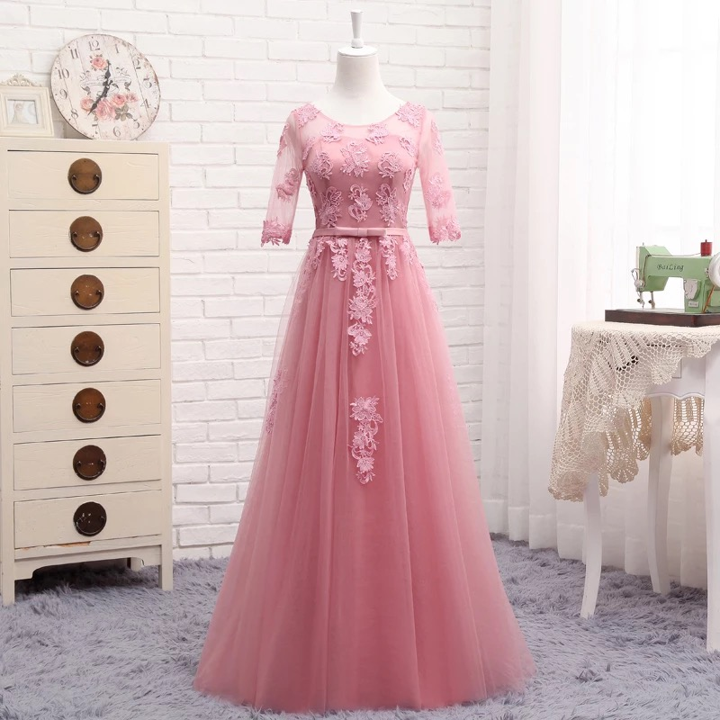 Half Sleeve A-line Floor Length Tulle Lace Bridesmaid Dresses Elegant  2020 New  Long Women Formal Party Dress Gowns LA02