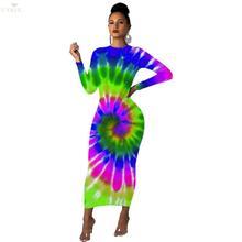 цена на New Plus Size Women Tie Dye Bodycon Dress Long Sleeve Round Neck High Waist Bandage Dress Spring Sexy Dress Skinny Long Dresses