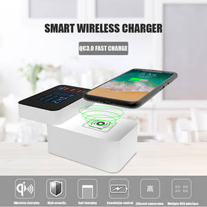 Wireless-Charger Station-Hub Power-Adapter Type-C Smart with Led-Display USB Fast-Charging