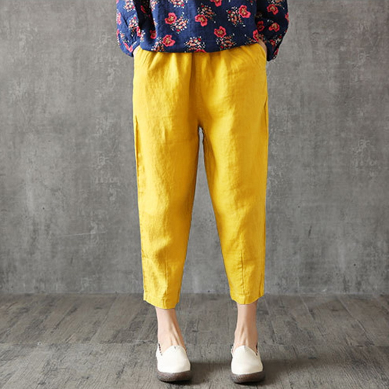 WENYUJH Vintage Women Pants Plus Size 2019 Summer Pant Capris Loose Thin Fabric Linen Cotton Pants Solid Color Harem Pants
