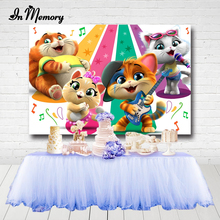InMemory Cartoon 44 Gatti Cat Photography Backgrounds Musical Singing Cats Girls Baby Shower 1st Birthday Party Backdrops Custom