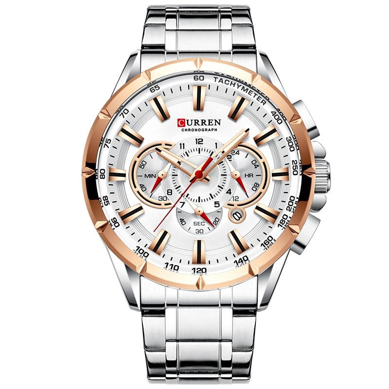 Curren Men's Watches Top Brand Luxury Chronograph Quartz Men Watch Waterproof Sport Wrist Watch Men Stainless Steel Male Clock
