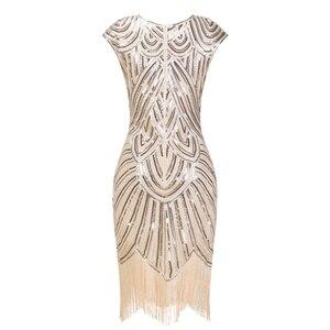 Image 2 - 1920s sukienka Flapper sukienka w stylu wielki Gatsby O Neck krótki kimonowy rękaw cekiny Fringe do kolan na imprezę sukienka Vestido De Verano letnie kobiety sukienka