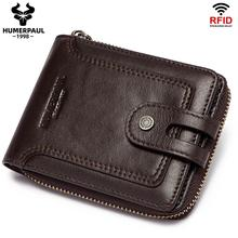 Men's Wallet Genuine Leather Purse Male Rfid Short Wallet Multifunction Storage Bag Coin Purse Wallet's Card Bags High Quality
