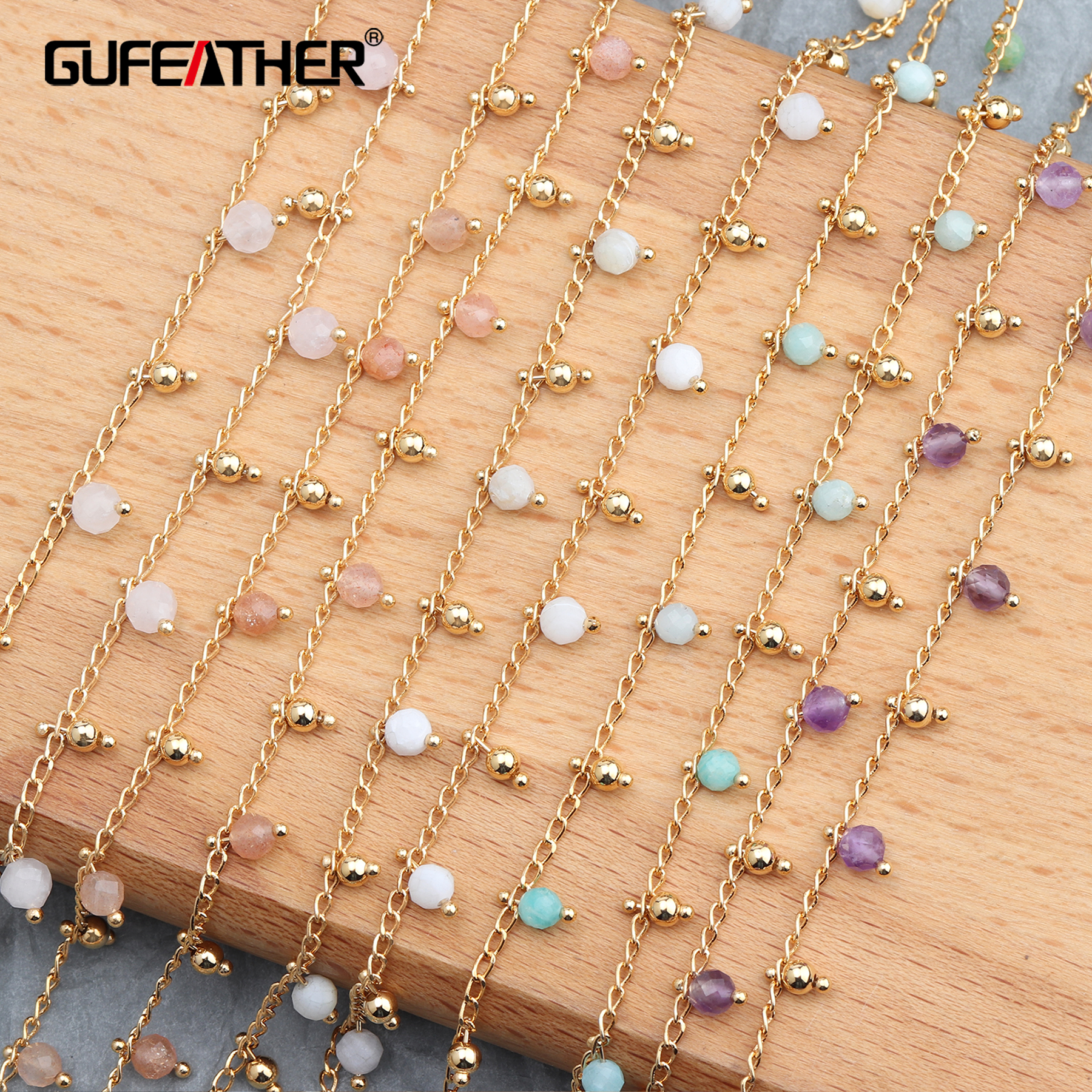 GUFEATHER C59,jewelry Accessories,jewelry Making,18k Gold Plated,diy Beads Chain,jewelry Findings,necklace For Women,1m/lot