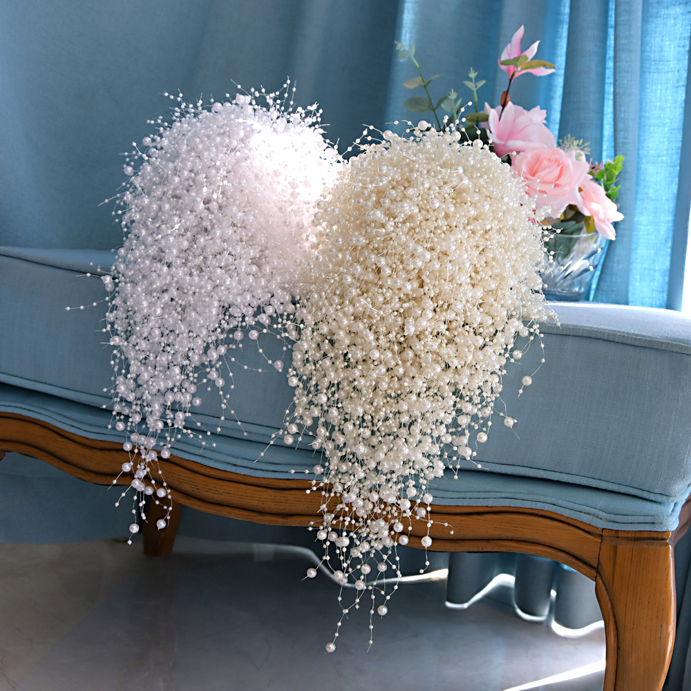YouLaPan F24 Wedding Bouquet Wedding Flower Bridal Bouquet Full Pearls Ivory&white Bouquet 100% Handmade Waterfull Bride Bouquet