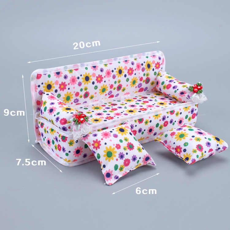 Милый цветочный диван Мини-кровать с двумя подушками мини кукольный домик мебель деревенский 1:12 миниатюрная кукла дома дети ролевые игры игрушки GYH