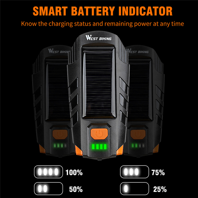 Светодиодный водонепроницаемый велофонарь с зарядкой через USB, 120 дБ Предупреждение WEST BIKING, 2000 мАч 4
