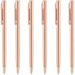 Slim metaliczny długopis chowany długopisy różowe złoto  fajny prezent dla mundurowych nauczycieli biurowych ślub boże narodzenie  średni P| |   -