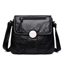 CmetNi черный Малый для женщин сумка мягкая промывают из искусственной кожи Crossbody женская сумочка кошельки