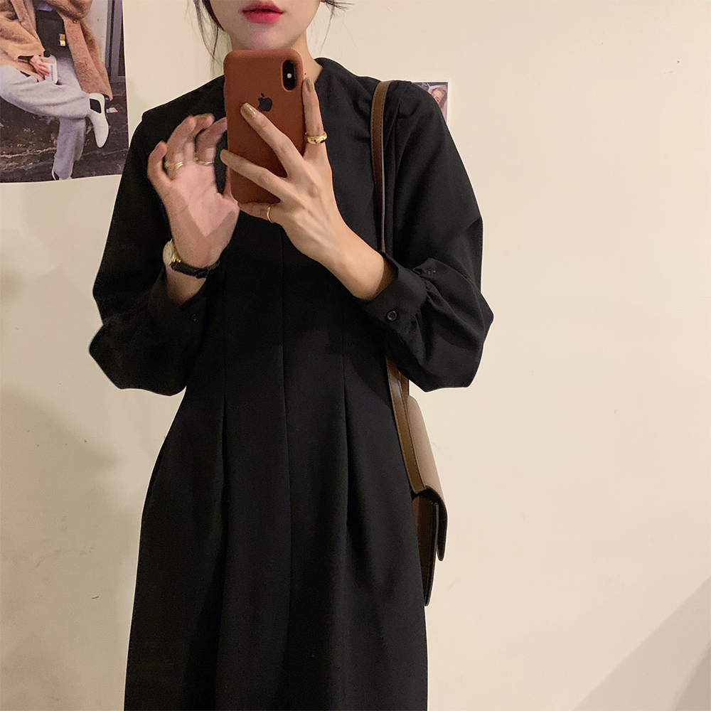 H01f8bb43cd514befa404bd8a72705e92L - Autumn Big Lapel Collar Long Lantern Sleeves Solid Loose Midi Dress