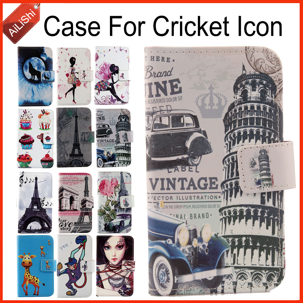 AiLiShi Case For Cricket Icon Luxury Flip PU Painted Leather Case Icon Cricket 100% Special Phone Protective Cover Skin+Tracking image