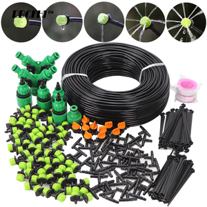 RBCFHI 5-60M 1/4'' Automatic Micro Drip Irrigation System Garden 8 Hole Spray Self Watering Kits With Adjustable Green Dripper