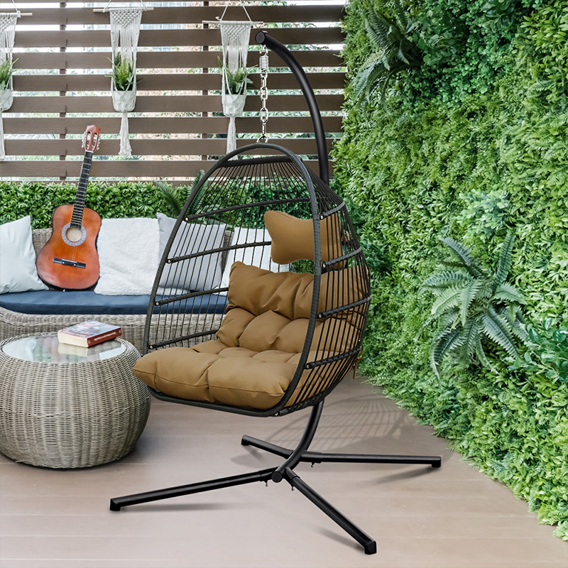 Hanging Hammock Chair Swinging Chair with Soft Cushion Folding Basket Garden Indoor Outdoor Furniture Hanging Chair