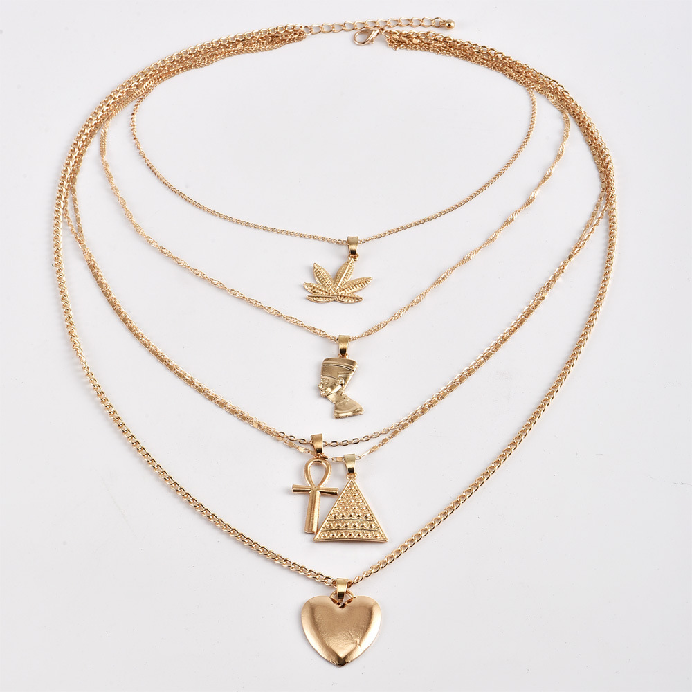 Cross Border Hot Selling Europe And America Exaggeration Maple Leaf Egypt Pharaoh Cleopatra Pyramid Choker Heart Pendant Multist