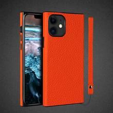 Genuine Leather Case For Iphone 12 Case For 11 Pro Max Casing Phone Etui Coque For Iphone 11 12 Pro 12 Mini Cover Square Fundas