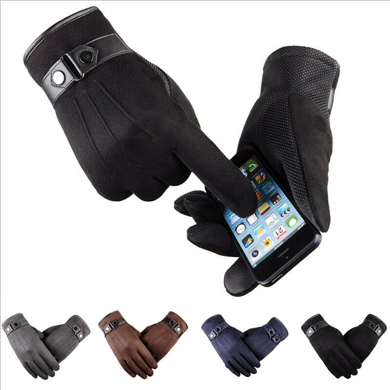 Mens Womens Leater Waterproof Driving Mobile Full Finger Gloves Touch Screen Gloves Thermal Warm Touch Screen Mittens