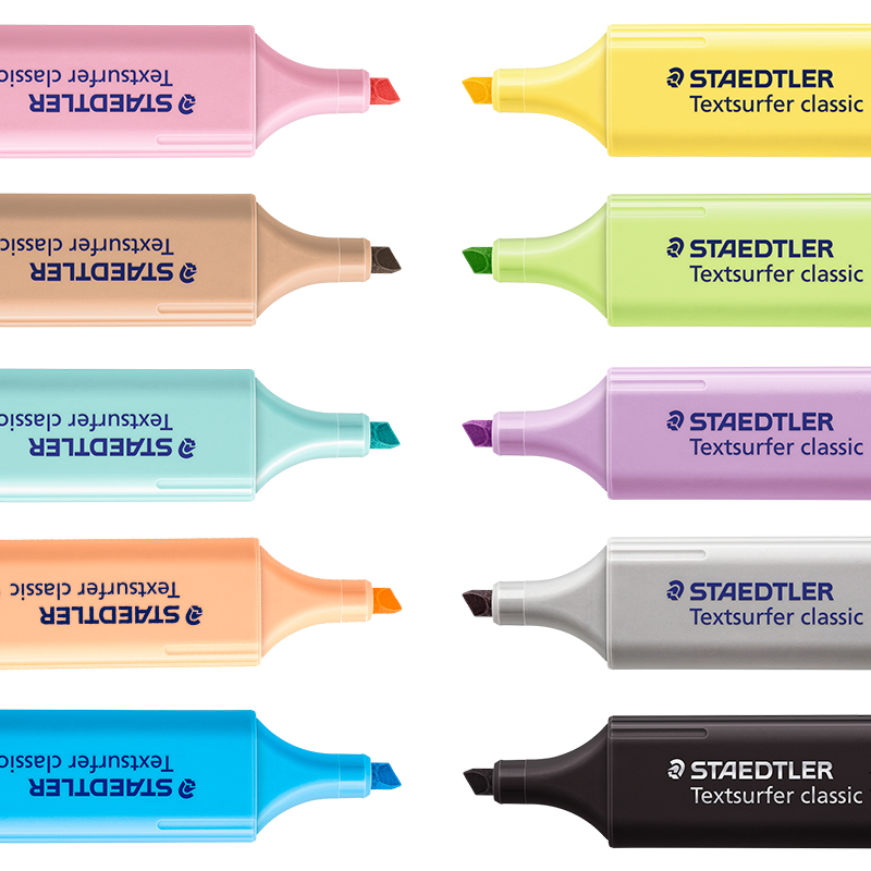 1pc  Staedtler Textsurfer Classic Pastel Highlighter Marker  Marking  Ten Different Colors Office Pen Base For Markers