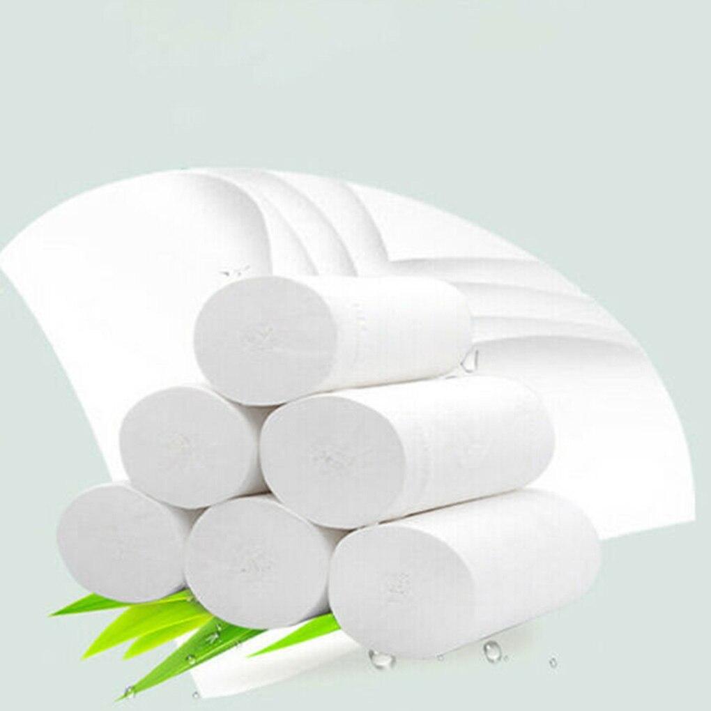 6 Rolls Toilet Paper Roll Home Hotel Restaurant Bathroom Washroom Soft Tissue Roll Wood Pulp Paper