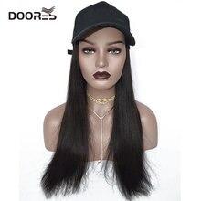 Doores волосы прямые парики для женщин человеческие волосы парики с регулируемой бейсболкой Chorliss утка язык шляпа с волосами Парики