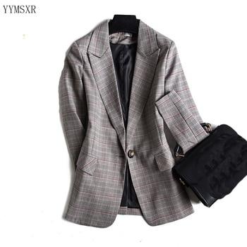 цена на Temperament Women's Blazer Coat High Quality Casual Slim Check Ladies Jacket Top 2019 new autumn small suit high quality