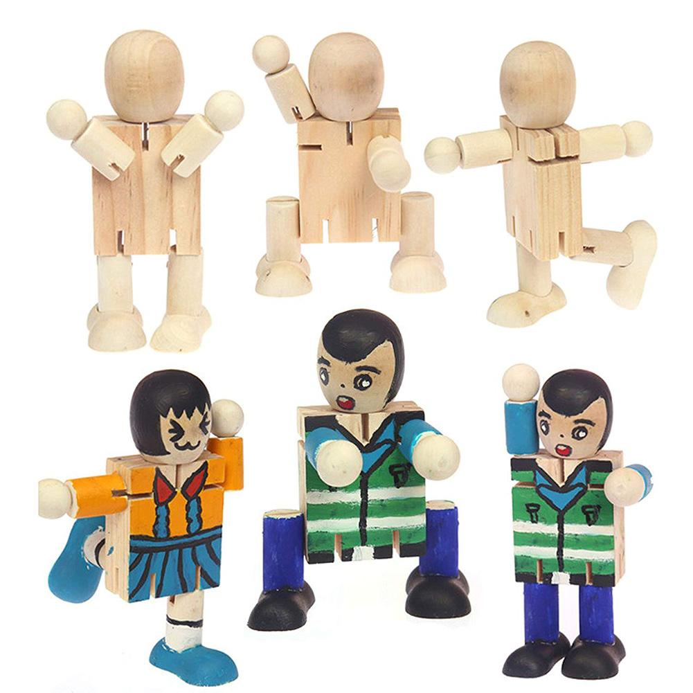 1pc Joints Wooden Dummy Mannequin Toys For Grownups Dolls Puppets Blockhead Articulated Wooden Manikin Model Robot Action Figure